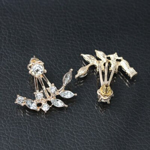Crystal Flower Leaf Earrings