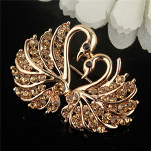 Load image into Gallery viewer, Gold Plated Love Swan Brooch