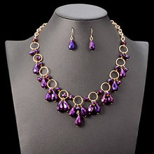 Load image into Gallery viewer, Purple Crystal Gem Pendant Set