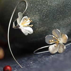 Sterling Silver Flower Tassel Earrings