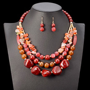 Amber Beads Choker Necklace Set