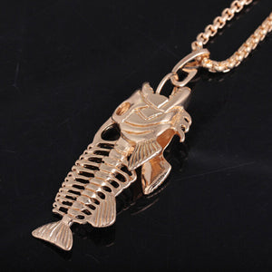 Exaggerated Fish & Fishing Hook Pendant