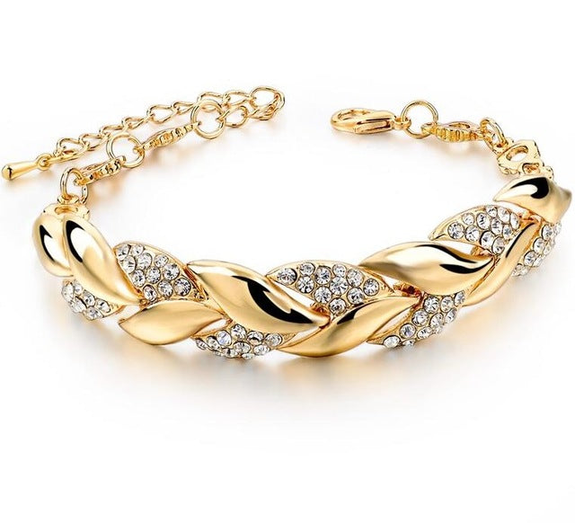Braided Gold Leaf Bracelet With Luxury Crystal