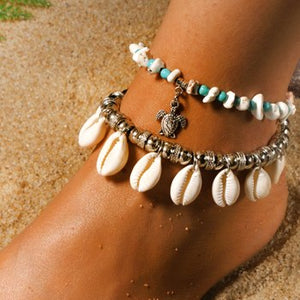 Natural Cowrie Boho Anklets Set