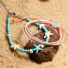 Load image into Gallery viewer, Natural Stone Starfish Boho Anklets