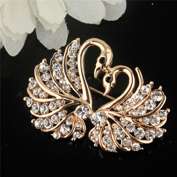 Gold Plated Love Swan Brooch