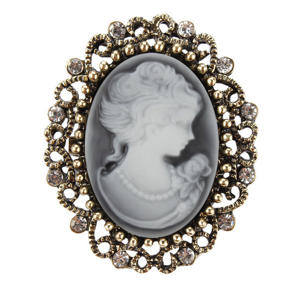 Vintage Royal Cameo Crystal Brooch
