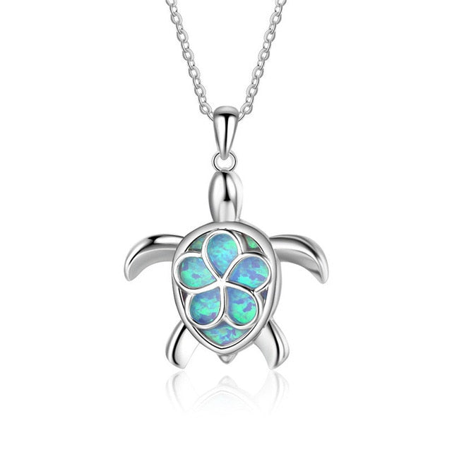 Blue Fire Opal Sea Turtle Tribal Rose Necklace