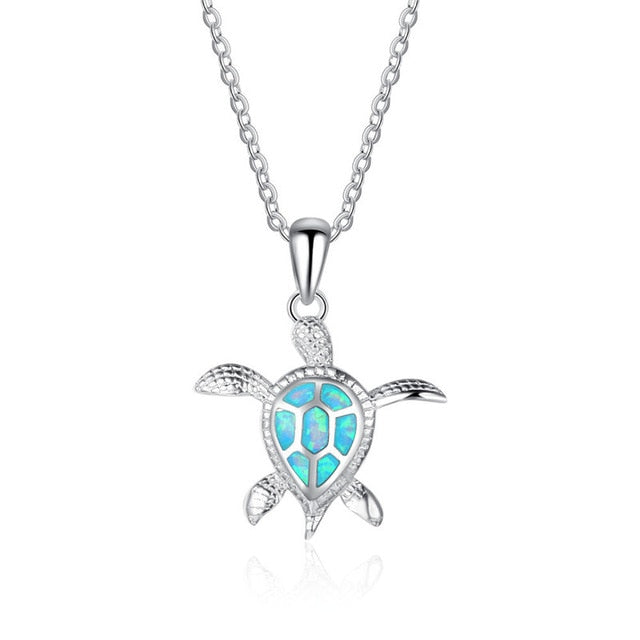 Blue Fire Opal Swimming Turtle Necklace