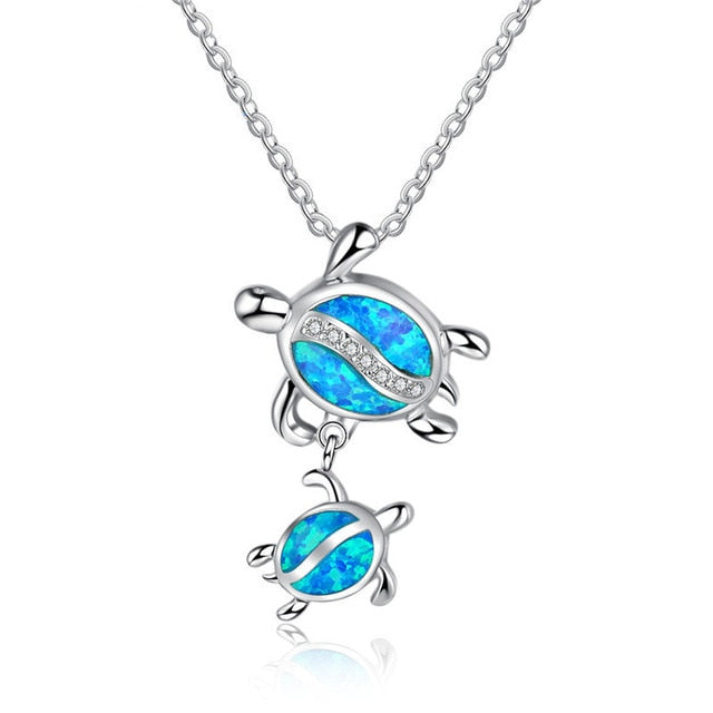 Blue Fire Opal Ohana Sea Turtle Necklace