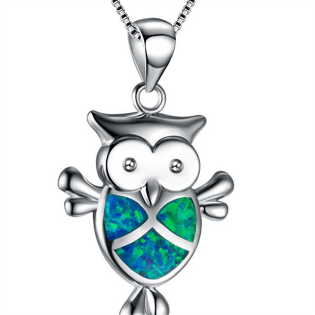 Beautiful Blue Fire Opal Owl Tribal Necklace