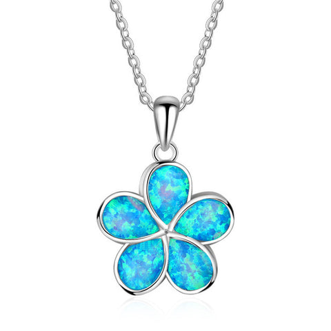 Beautiful Blue Fire Opal Flower Tribal Necklace