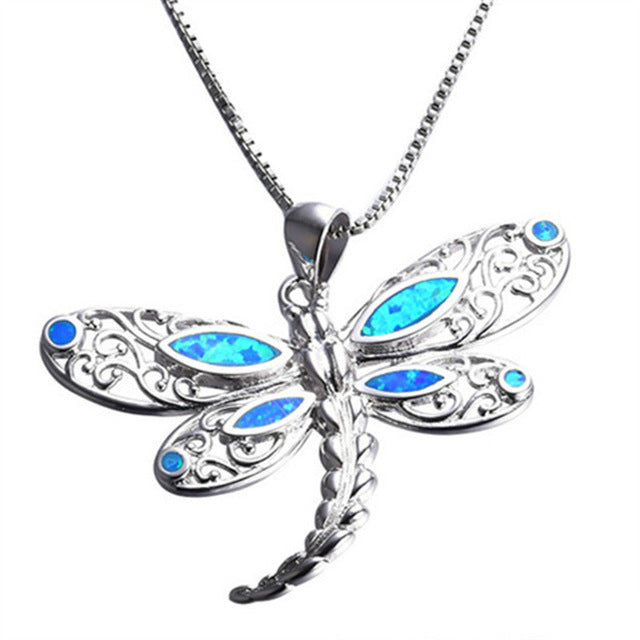 Beautiful Blue Fire Opal Dragon Fly Tribal Necklace