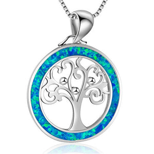 Beautiful Blue Fire Opal Tree of Love Tribal Necklace