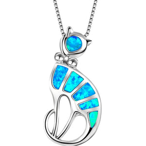 Beautiful Blue Fire Opal Cat Tribal Necklace