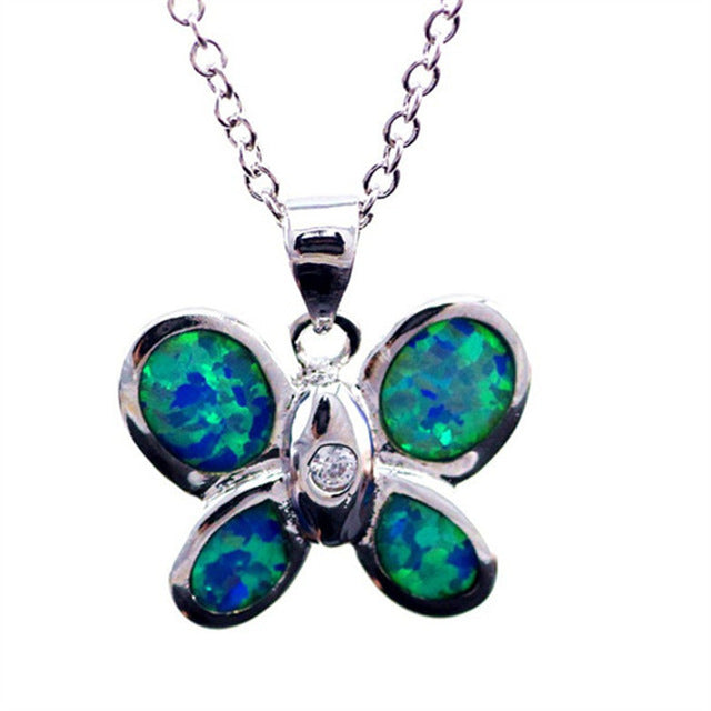 Beautiful Blue Fire Opal Buttery Fly Necklace