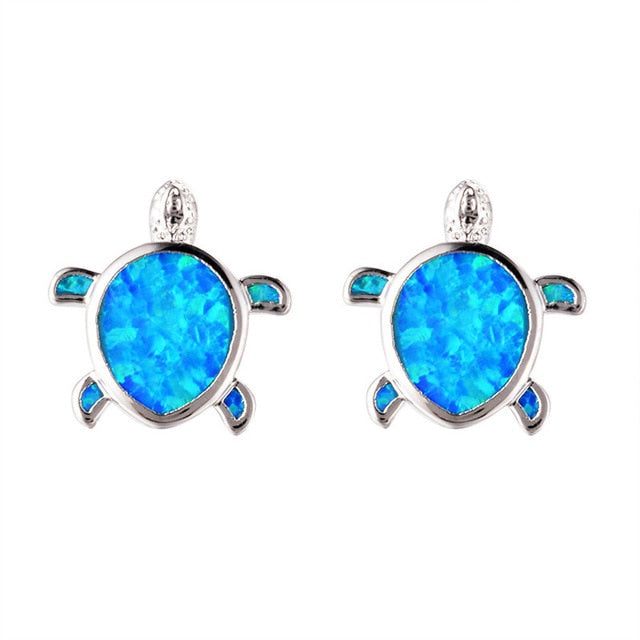 Beautiful Blue Fire Opal Sea Turtle Tribal Earrings