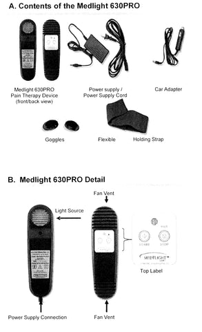 What comes with the Medlight 630 pro