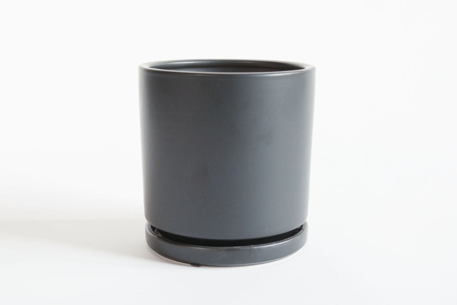 Matte Black Cylinder with Tray 6""