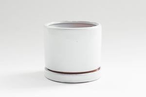 Gloss White Cylinder with Tray 5""