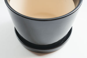 Gloss Black Taper with Tray - Pot / Planter