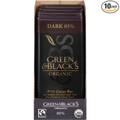 green and black vegan dark chocolate bar