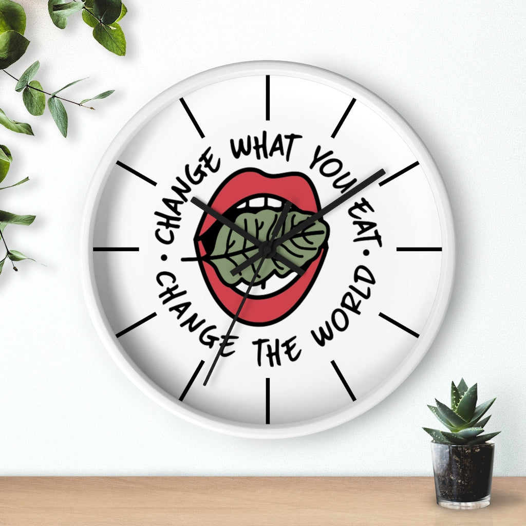 change the world vegan wall clock