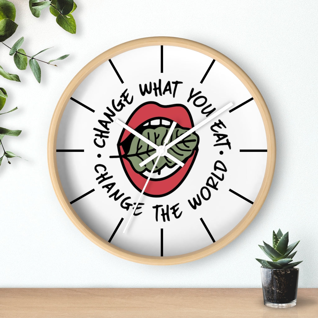 wooden vegan clock