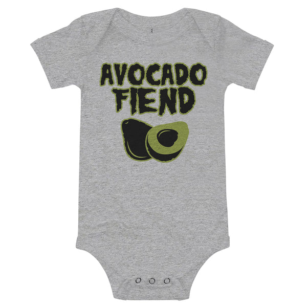 'Avocado Fiend'  Infant Onesie Athletic Grey