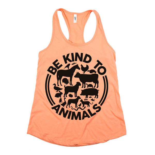 Be Kind To Animals Racerback Tank Top Coral Womens