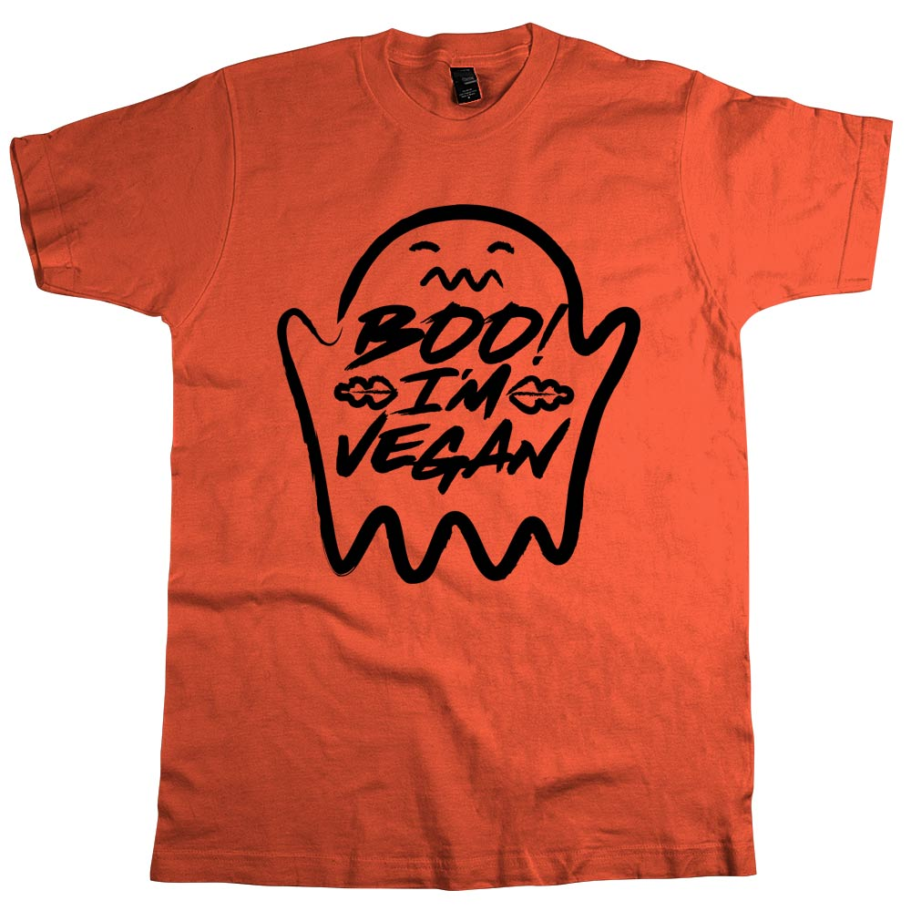 Boo! I'm Vegan'	T Shirt Mens	Orange