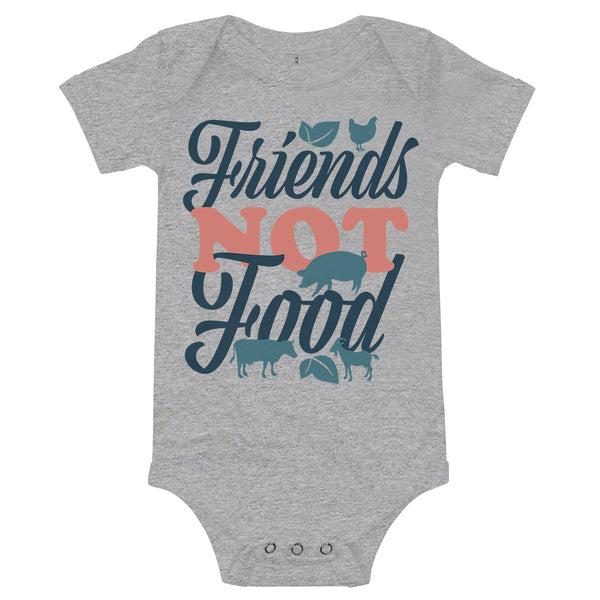 'Friends Not Food' Infant Onesie Athletic Grey