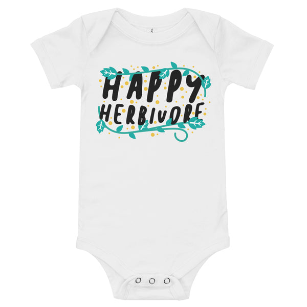 'Happy Herbivore' Infant Onesie White