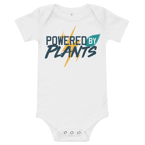 'Powered by Plants' Infant Onesie White