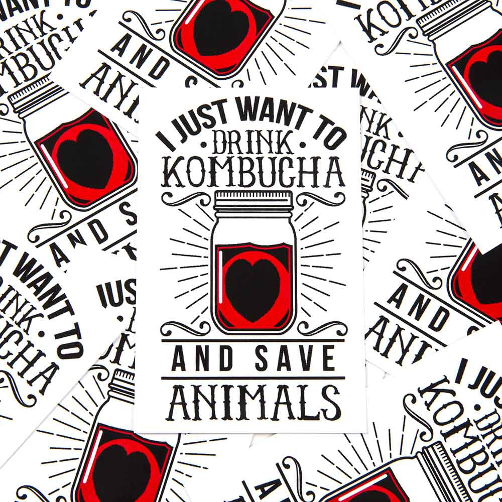 'Drink Kombucha Save Animals' Sticker