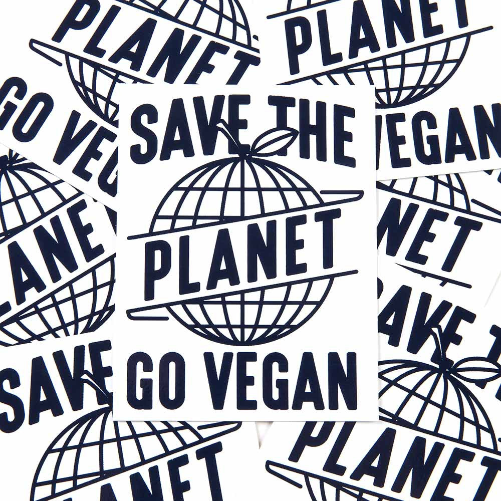 'Save The Planet Go Vegan' Sticker