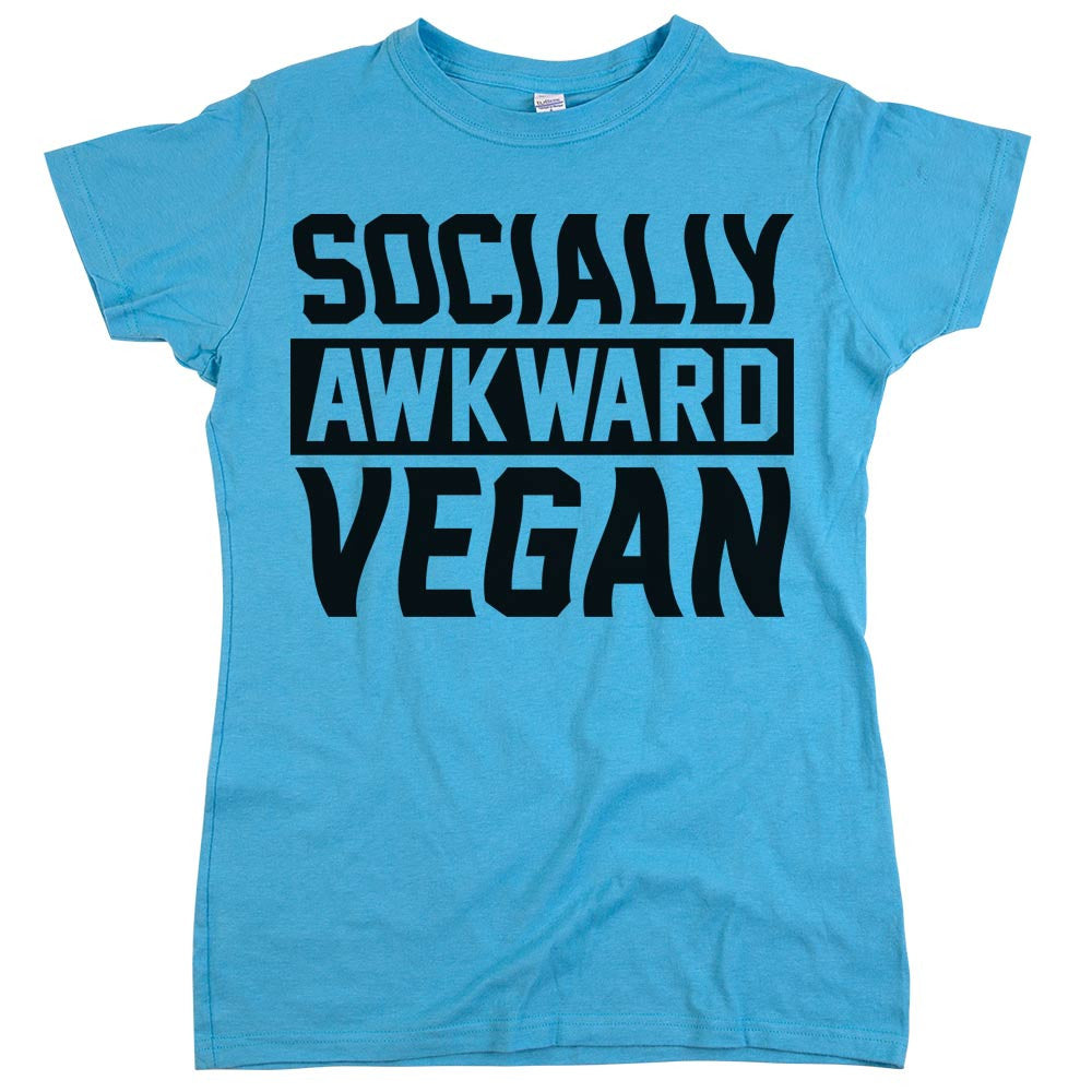 Socially Awkward Vegan Shirt Aqua Womens