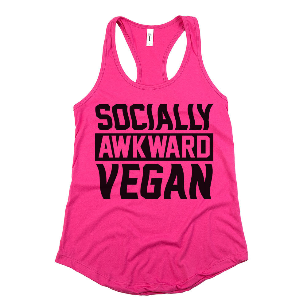Socially Awkward Vegan Womens Racerback Tank Top Berry