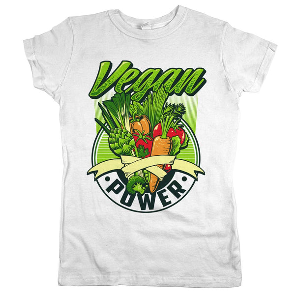 Vegan Power Veggies'	T-shirt White Womens
