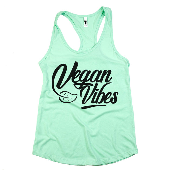 Vegan Vibes Racerback Tank Top Mint Womens