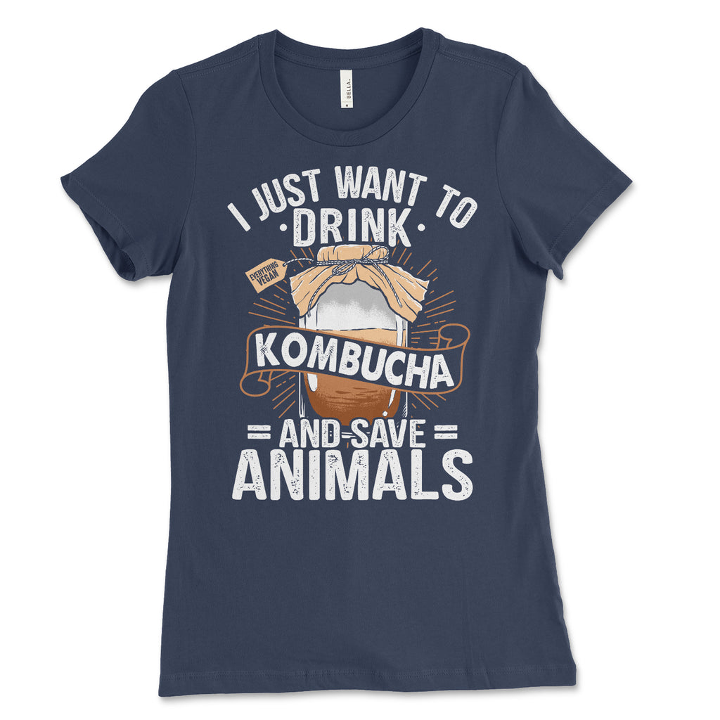 Womens Drink Kombucha Save Animals Shirt