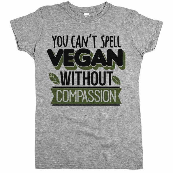 Vegan Compassion Shirt Grey Womens