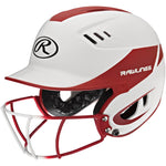 Rawlings Velo Junior 2-Tone Home Softball Helmet w/Mask-Red