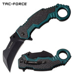 Tac-Force Assisted Karambit 3 in Blade Green Aluminum Handle