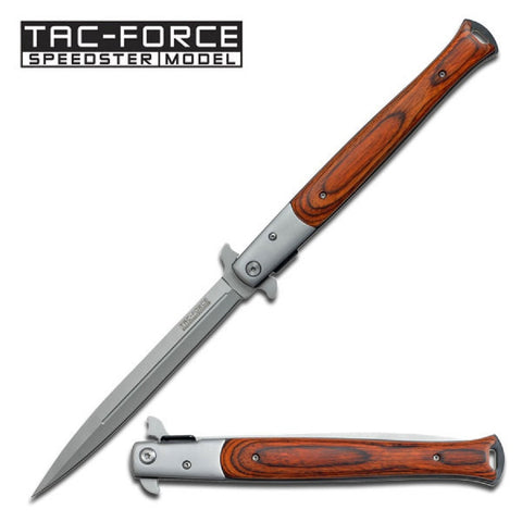 Tac-Force Assisted 5.5 in Blade Red Pakkawood Handle