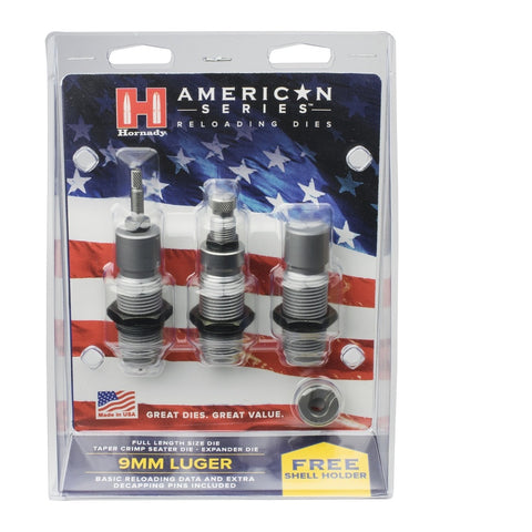 Hornady American Die Set 3 9m /9x21 (.355) Free Shell Holder