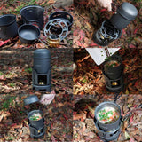 Outdoor Camping Cooking Set 7pcs Portable Stove Camping Cookware Pots Bowl Cooker Stove Picnic BBQ Travel 1-2Person