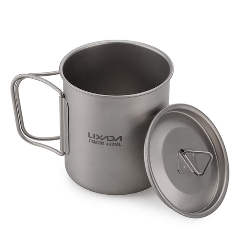 Outdoor Titanium Cup Mug Pots Tableware Camping Cup Picnic Water Cup Mug of Coffee Tea with Lid 300/350/420/550/650/750ml
