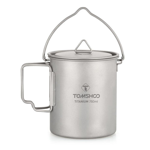 TOMSHOO 750ml Titanium Pot Titanium Water Mug Cup with Lid and Foldable Handle Outdoor Camping Pot Cooking Pots Picnic Hang Pot