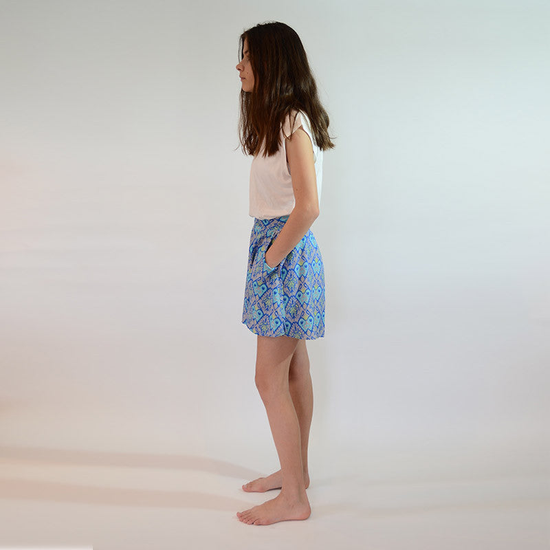 Flat Front Short | Ikat + Songket Green